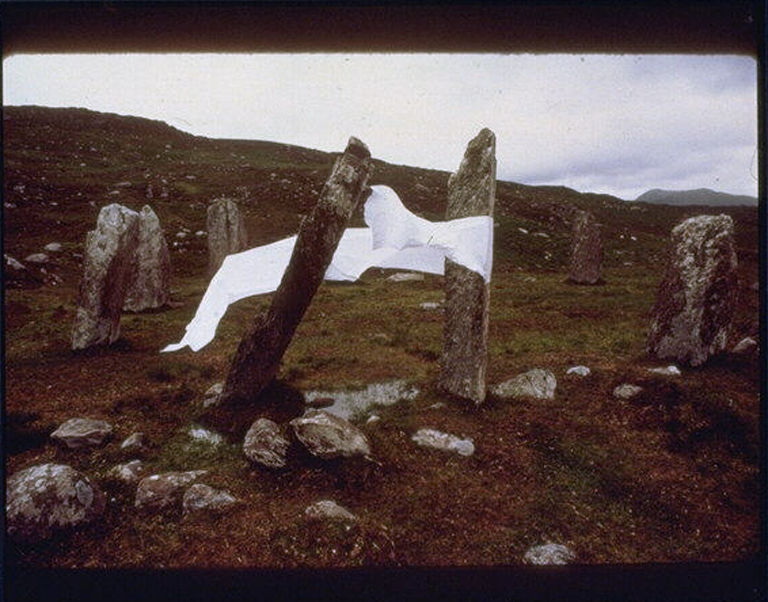 Paper Across the Portal Stones of the Drombohilly Circle, Ireland 1981